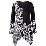 XOWRTE Women s Plus Size O-Neck Tops Folk-Custom Print Irregular Fall Long Sleeve Tunic T-Shirt Blouse
