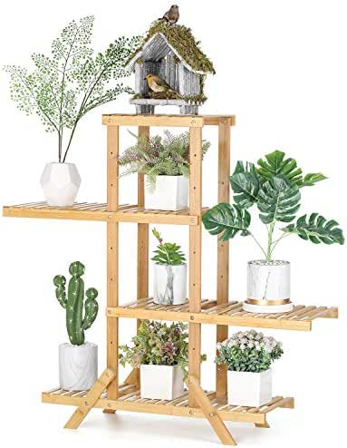 Lerro Bamboo Plant Holder Rack 4 Tier, Adjustable Flower Pots Holder Display Shelf Storage Shelving Unit Utility Rack for Bathroom Kitchen Hallway