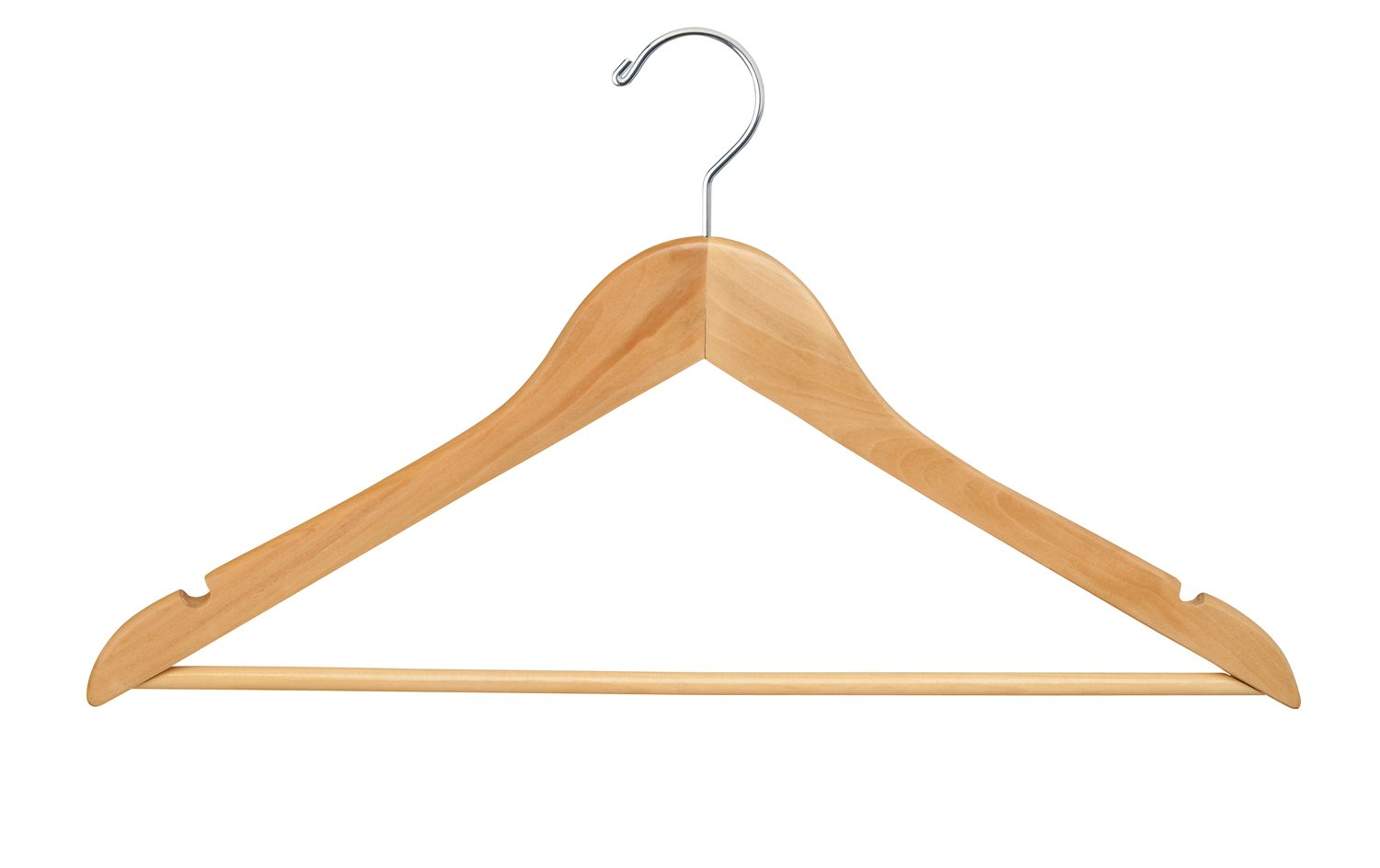 Econoco Commercial Wishbone with Chrome Hook and Wooden Bar, 17'', Natural (Pack of 100)