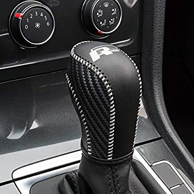JIECHEN Auto Car Leather Gear Shift Knob Cover for VW Golf Jetta Passat Tiguan Atlas Beetle GLI Eos CC Golf TDI E-Golf Golf Sportwagen Jetta Hybrid Golf R Golf GTI Jetta Accessories (White): Automotive
