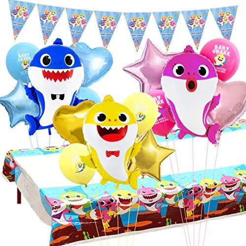 Miramall Baby Shark Party Supplies Decorations Baby Shark Balloons Tablecloth Pennant Banner for Kids 1st 2nd Birthday Baby Shower Decorations Set