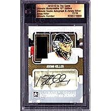 Jonas Hiller Hockey Card 2012-13 ITG Ultimate Memorabilia Goalie Auto Jersey #7 Jonas Hiller