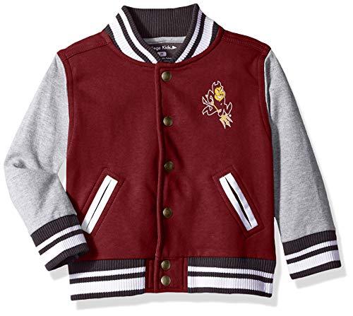 NCAA Arizona State Sun Devils Children Unisex Toddler Letterman Jacket, 3 Toddler, Maroon/Oxford (Sun Devil Jacket)