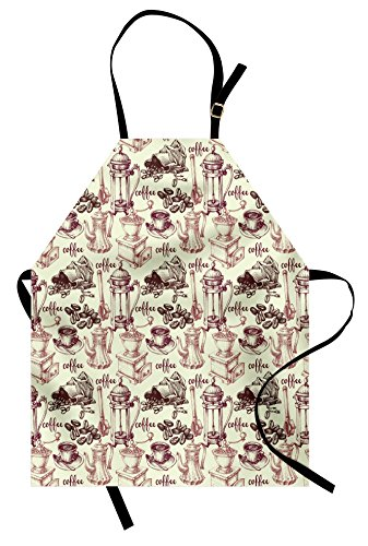 (Lunarable Tea Party Apron, Coffee Beans with Old Espresso Machine in Sketch Hand Drawn Pattern Image, Unisex Kitchen Bib Apron with Adjustable Neck for Cooking Baking Gardening, Rose Ivory)