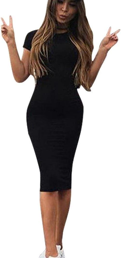 Lookatool Dress, Women Fashion Sexy Solid Short Sleeve Slim Dress