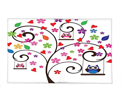 Interestlee Fleece Throw Blanket Owls Tree With Flowers And Owls Swinging Curvy Ornamental Lines Playful Design Art