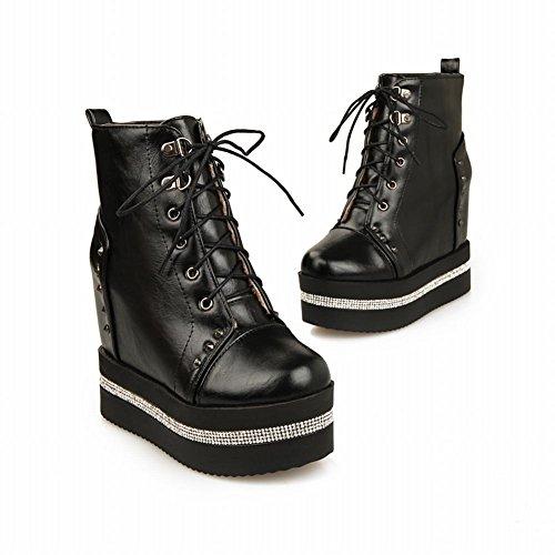 Latasa Womens Fashion Lace-up Inside Wedge Heel Ankle High Platform Boots Black tPj32
