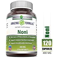 Amazing Nutrition Noni - 400mg Capsules - 120 Capsules Per Bottle (Non-GMO,Gluten Free) - Made from Tahitian Noni Fruit from The Morinda Citrifolia Plant