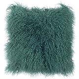 Decorative Pillow Cover - SLPR Mongolian Lamb Fur Throw Pillow Cover (24'' x 24'', Sea Breeze) | Real Fur Decorative Cushion Cover Pillow Case for Living Room Bedroom
