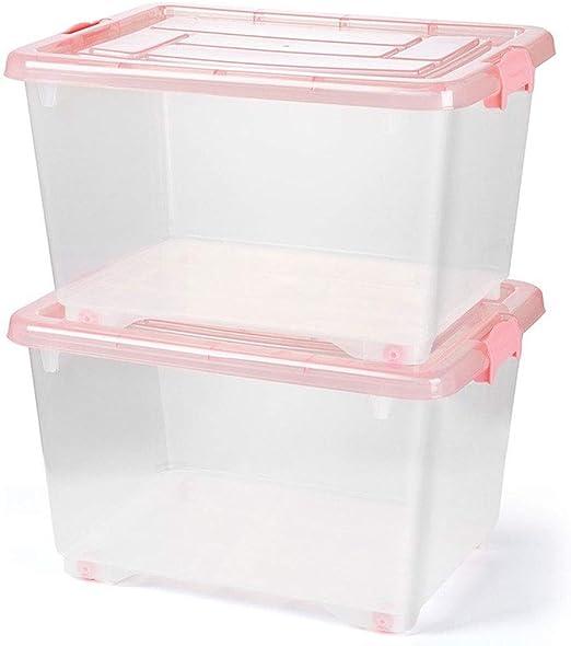 HX Cajas almacenaje Ropa Grande Transparente Caja de Almacenamiento de plástico de Juguete Armario de Almacenamiento Caja de Almacenamiento Cubierto Caja de Ropa (Rosa) Cajas de plastico almacenaje: Amazon.es: Hogar