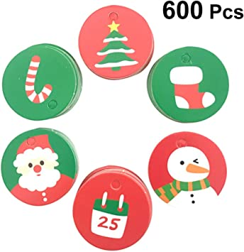 Amazon Com Nuobesty 600 Pcs Christmas Hanging Gift Tags Round Cartoon Printing Hang Labels Name Card Merchandise Tags For Festive Holidays Wall Decor Office Products