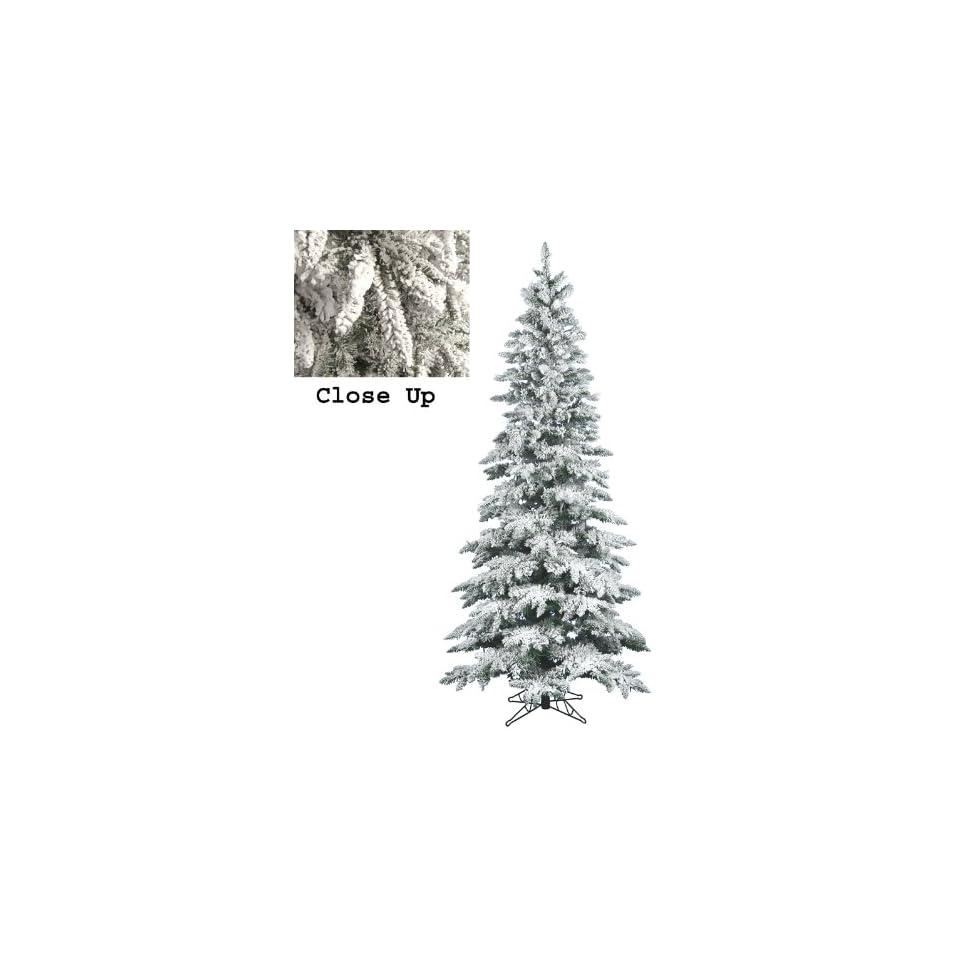 Slim Snow Flocked Layered Utica Fir Artificial Christmas Tree   Unlit
