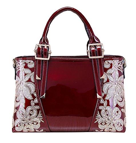 les fourre à sac cuir fermeture luxe tout avec Himaleyaz grands pour rouge glissière à Bourgogne bandoulière en Vin à sacs femmes sacs verni main wxRqEqAfY