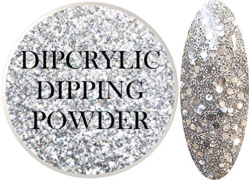 - SHEBA NAILS Dipcrylic Glitter Dip Dipping Powder SPARKLING CHROME MIX- 1oz Jar