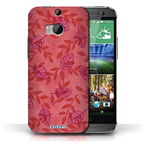 Etui / Coque pour HTC One/1 M8 / Rouge/Violet conception / Collection de Motif Feuille/Branche