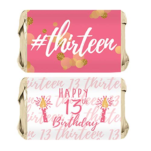Girls 13th Birthday Party Mini Candy Bar Wrappers, Pink and Gold | 45 Stickers