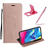 Strap Leather Case for Galaxy M30,Rose Gold Wallet Flip Case for Galaxy M30,Herzzer Elegant Classic Solid Color Magnetic Cute Fish Cat Printed Stand PU Leather Case with Soft TPU