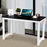 Officejoy Computer Desk Wood Laptop PC Table Rectangular Writing Table Study Home Office Workstation (black)