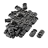 uxcell Plastic Single Hole Spring Loaded Clothes Sliding Cord Lock Stopper 50pcs Black