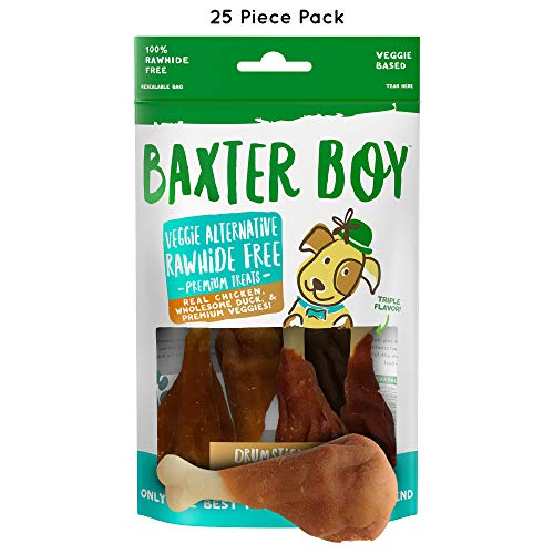 Baxter Boy Drumsticks Premium Natural Dog Treats Chews with Real...