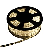 Walcut 50ft 110V 540 LED Bulbs Round Tube Rope Light Indoor/Outdoor Boat Decorative Party Christmas Holiday Business Restaurant Light (warm white)