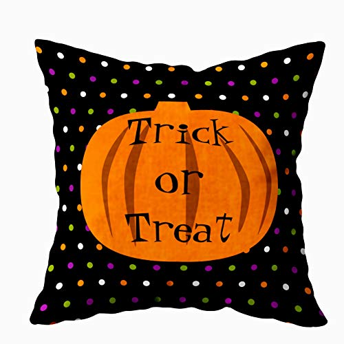 EMMTEEY Home Decor Throw Pillowcase for Sofa Cushion Cover,Trick or Treat Halloween Pumpkins Outdoor Decorative Square Accent Zippered and Double Sided Printing Pillow Case Covers -