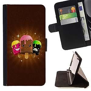 Momo Phone Case / Flip Funda de Cuero Case Cover - Helado lindo Amigos - Samsung Galaxy Note 5 5th N9200