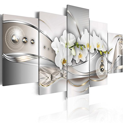 Vibrant Flower Pearl Orchids Canvas Wall Art Modern Decor 5 Pieces Print Painting White Floral HD Picture Bedroom Living Room Framed Ready to Hang ( 40