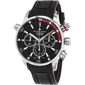 Maurice Lacroix Pontos S Chronograph Men's Black Dial Black Rubber Strap Swiss Automatic Divers Watch PT6018-SS001-330-1