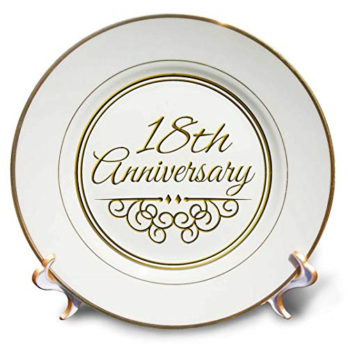 3dRose cp_154460_1 18Th Gold Text for Celebrating Wedding Anniversaries 18 Years Married Together Porcelain Plate, 8-Inch