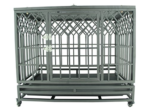 SMONTER 38″ Heavy Duty Strong Metal Dog Cage Pet Kennel Crate Playpen with Wheels, Y Shape, Dark Sliver