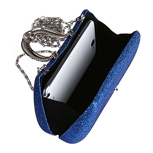 Ladies Evening Rhinestone Blue Bridal Bag Clutch Diamond Elegant Satin Gold Wedding Womens Prom Handbag KAXIDY vFwRBqcXUc