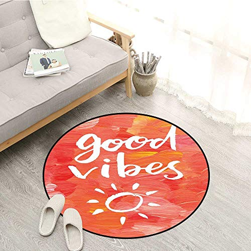 Good Vibes Living Room Mat Artistic Brushstrokes Positive Life Message Hand Drawn Sun Figure Print Super Absorbs Mud 3'3