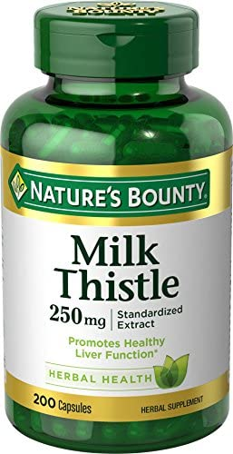 Nature s Bounty Milk Thistle Pills and Herbal Health Supplement, Supports Liver Health, 250mg, 200 Capsules