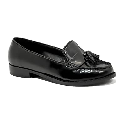 daef0d240db2 AMBASSADOR Womens Ladies Black Leather Office Shoes Formal Loafers Smart  Court Moccasins Shoes 3