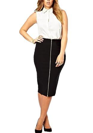 cefa57be212 Enlishop Women s Black Knee Length Front Zipper Plus Size Bodycon Pencil  Skirt at Amazon Women s Clothing store