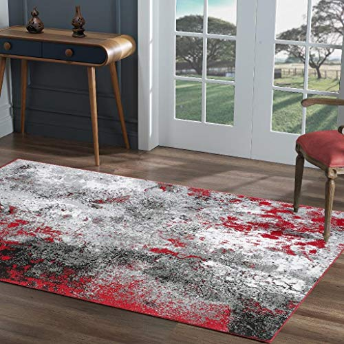 Luxe Weavers Howell Collection Red 5×7 Abstract Area Rug 2913