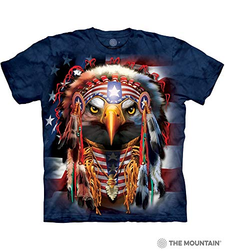 The Mountain Native Patriot Eagle Adult T-Shirt, Blue, 3XL