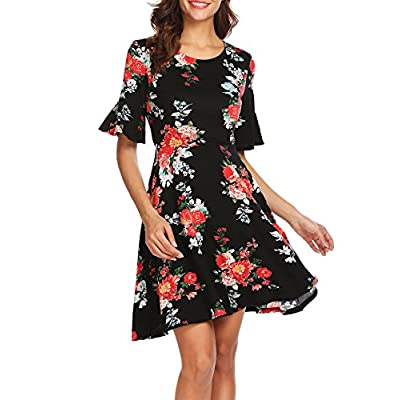 Zeagoo Women's Casual Round Neck Floral Ruffle Bell Sleeve A Line Swing Midi Dress free shipping
