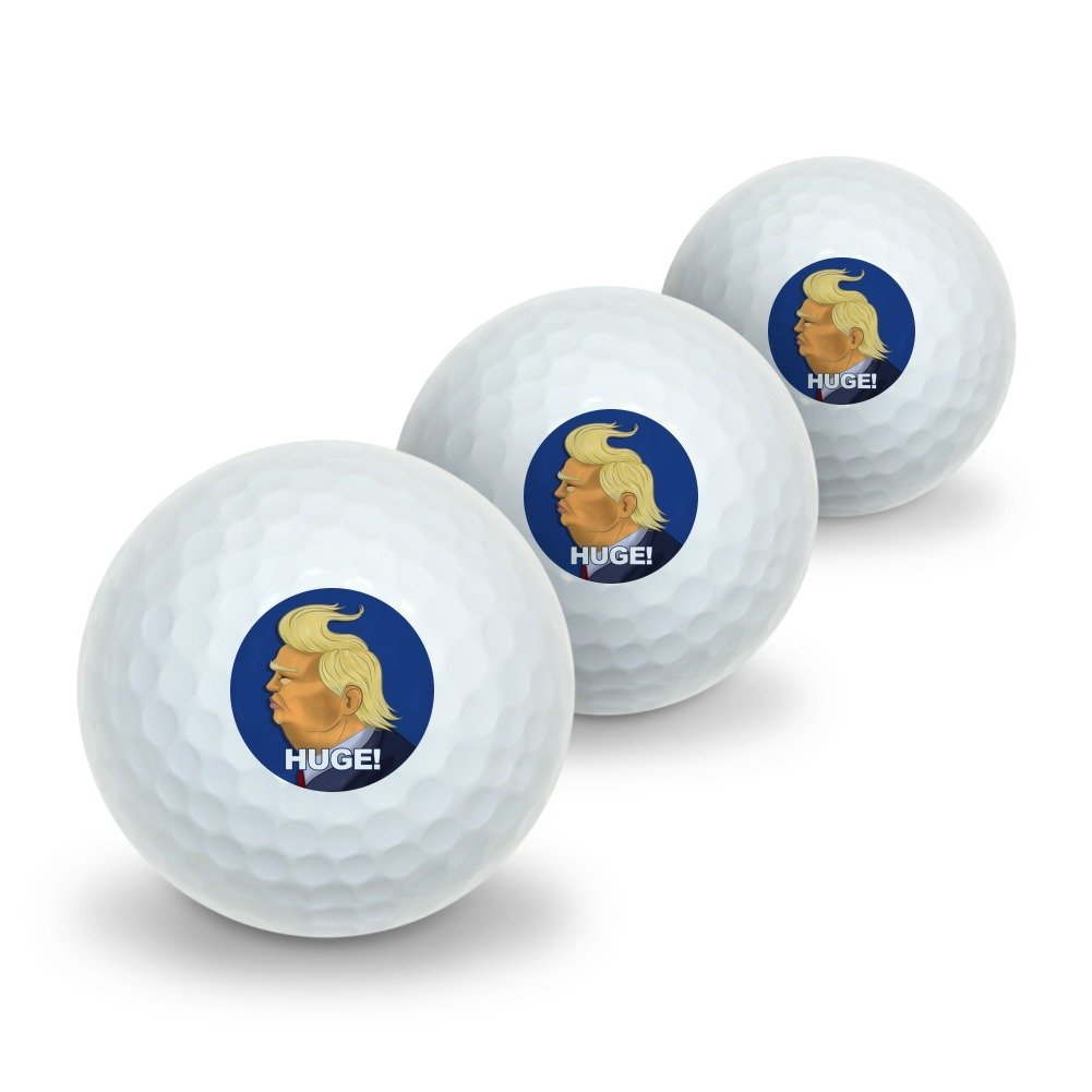 Graphics and More Huge! Donald Trump Caricature with Wind Blowing Hair Funny Novelty Golf Balls 3 Pack