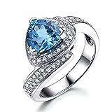 Blue Topaz Wedding Ring Trillion Cut 925 Sterling Silver White Gold CZ Diamond Halo Unique Engagement Set