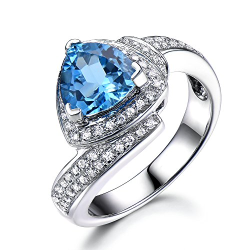 Blue Topaz Wedding Ring Trillion Cut 925 Sterling Silver White Gold CZ Diamond Halo Unique Engagement Set by Milejewel Topaz Engagement Ring (Image #6)