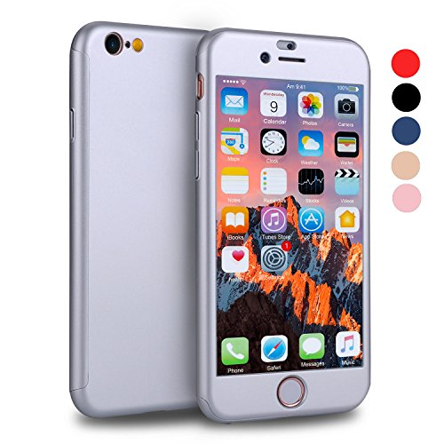 iPhone 6s Case, VANSIN 360 Full Body Cover Ultra Thin Protective Hard Slim Case Coated Non Slip Matte Surface with Screen Protector for Apple iPhone 6 and iPhone 6s - Silver