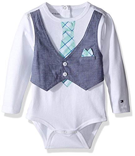 Tommy Hilfiger Baby Boys' Long Sleeve Randy Vest Bodysuit, White, 9 Months