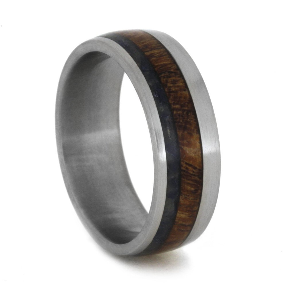 Blue Sea Glass, Mesquite Burl Wood 7mm Comfort-Fit Matte Titanium Band, Size 14.75 by The Men's Jewelry Store (Unisex Jewelry)