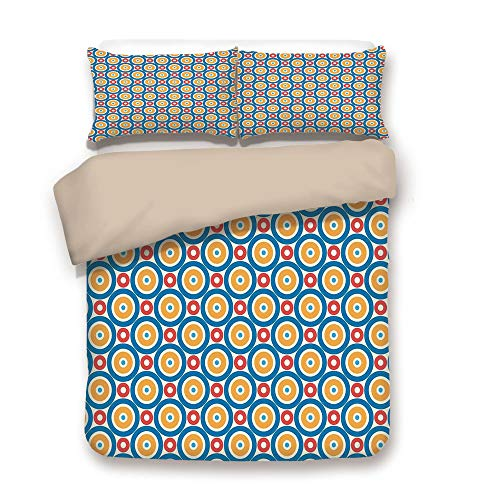 Duvet Cover Set,Back of Khaki,Kids,Big and Small Circles with Dots Vibrant Colored Symmetrical Tile Pattern,Blue Marigold Scarlet,Decorative 3 Pcs Bedding Set by 2 Pillow Shams,Twin