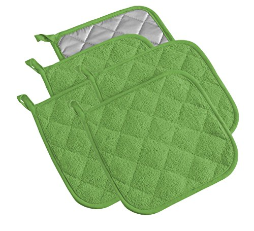 100% Cotton Kitchen Everyday Basic Terry Pot holder Heat Resistant Coaster Potholder for Cooking and Baking Set of 5 Apple Green - Apple Pot Holders