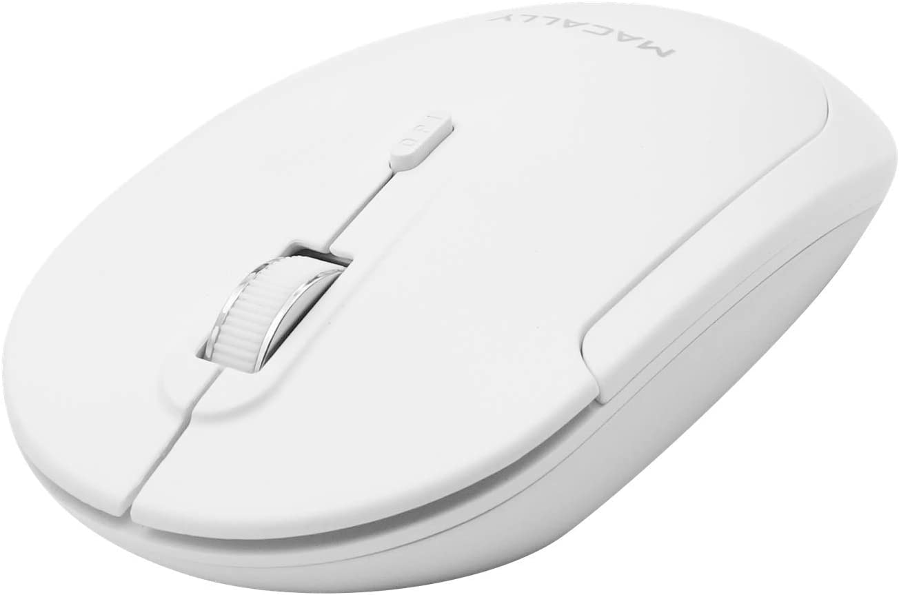 Macally Wireless Bluetooth Mouse for Mac and PC - Quiet Click Buttons with Slim Comfortable Body - Silent Wireless Mouse with DPI 800/1200/1600 - Workflow Enhancing Bluetooth Computer Mouse (White)