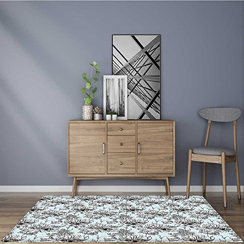 Bathroom Rug Carpet Monochrome Pond Water Lily Carp Snail Twigs Baby Blue Black White Machine Washable Large Mats Materials W47 x L71 INCH