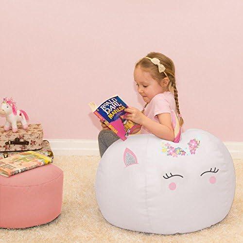 Personalised 3D Kids Unicorn Beanbag - Platinum (Medium)